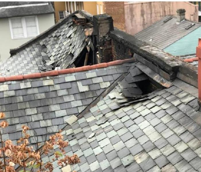 Roof Damaged By Fire