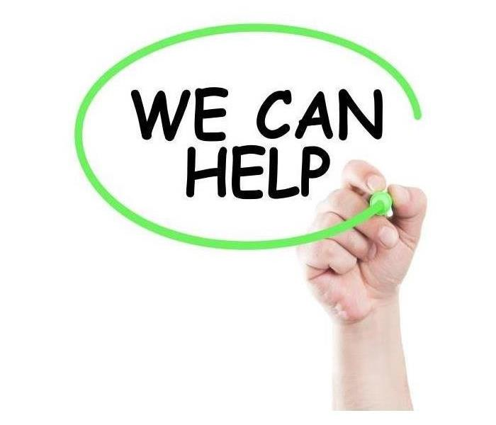 "A white background with the words "" WE CAN HELP"" written in black, with a green circle drawn around the words."