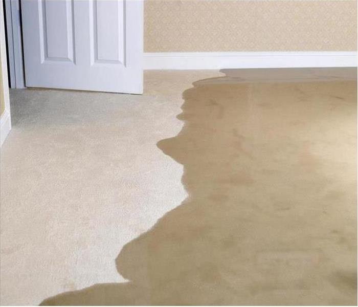 Water on the floor of a home.