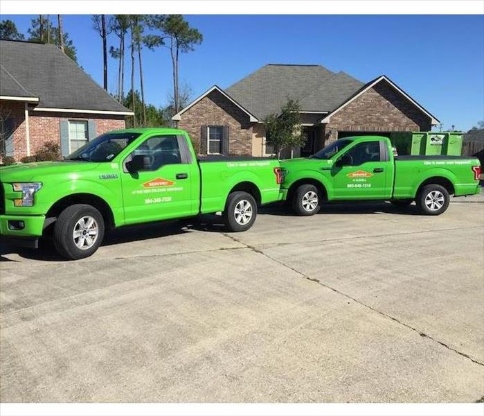 SERVPRO Trucks parked outside home